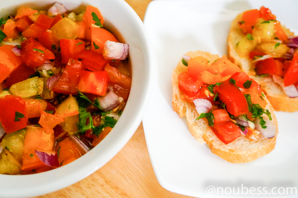 How to make Zesty Tricolor Tomatoes Bruschetta