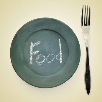 picture of a fork and a plate painted as a blackboard with the word food written in it with chalk on a beige background with a retro effect