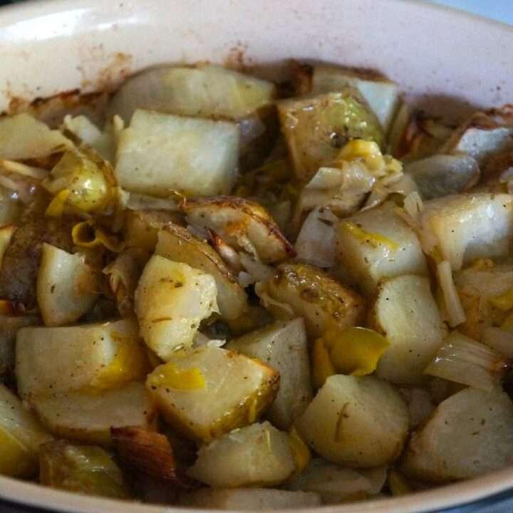 Oven Roasted Potatoes with Leeks and Lemon Zest