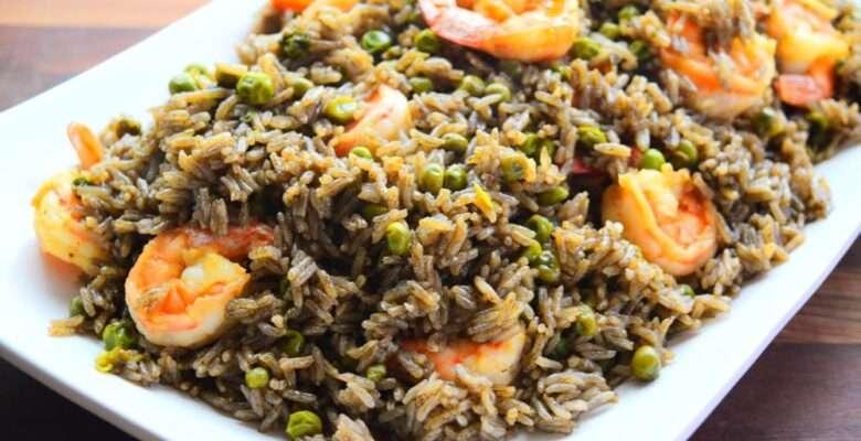 Black Mushroom Rice with Shrimp (Riz Djon-Djon with Shrimp)