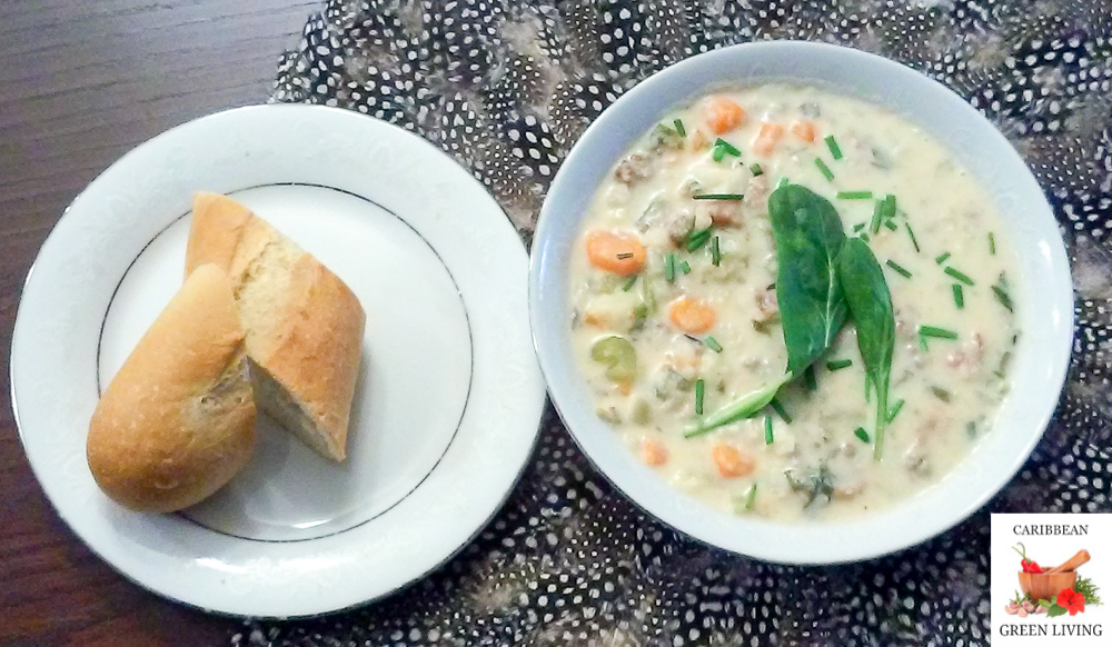 Hearty Soup with Bread.