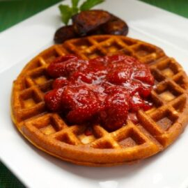 whole wheat waffles with strawberry sauce 1