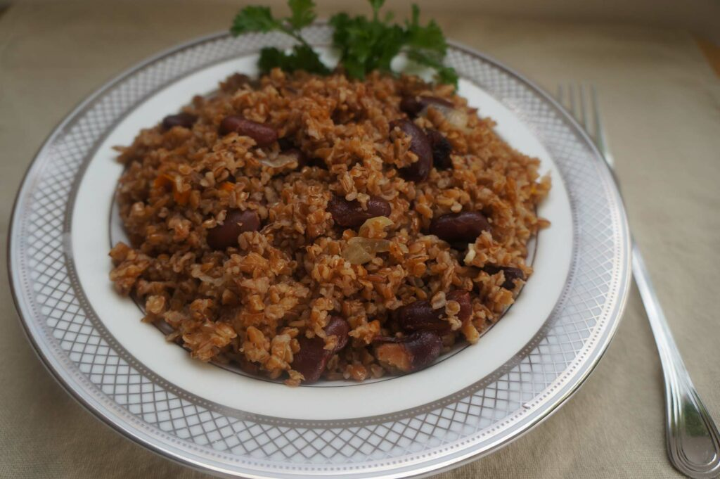 Bulgur Wheat with Red Beans, Peppers and Onions