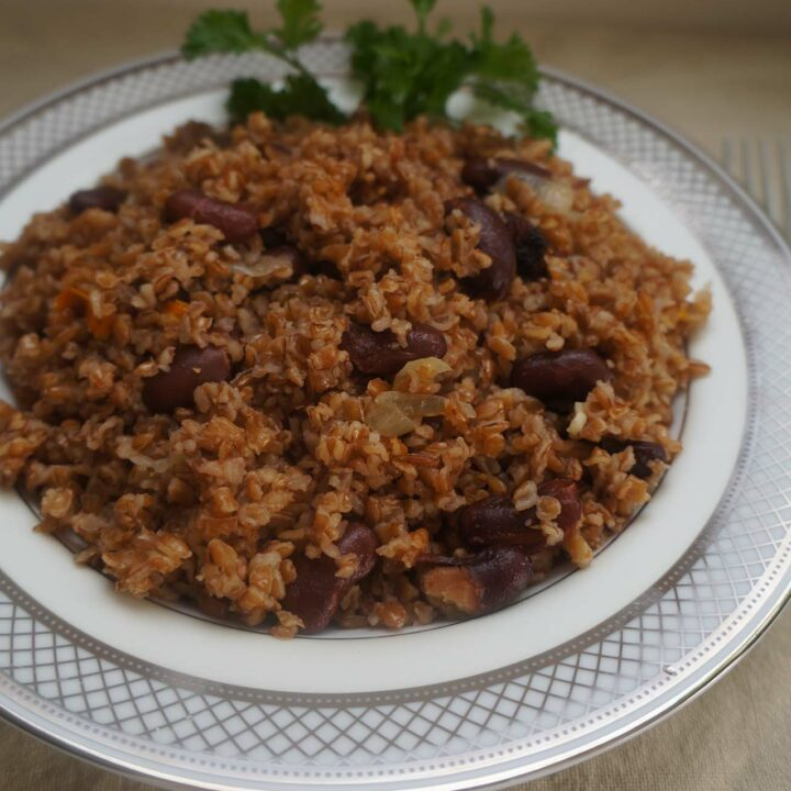 Bulgar Wheat with Red Beans, Peppers and Onions