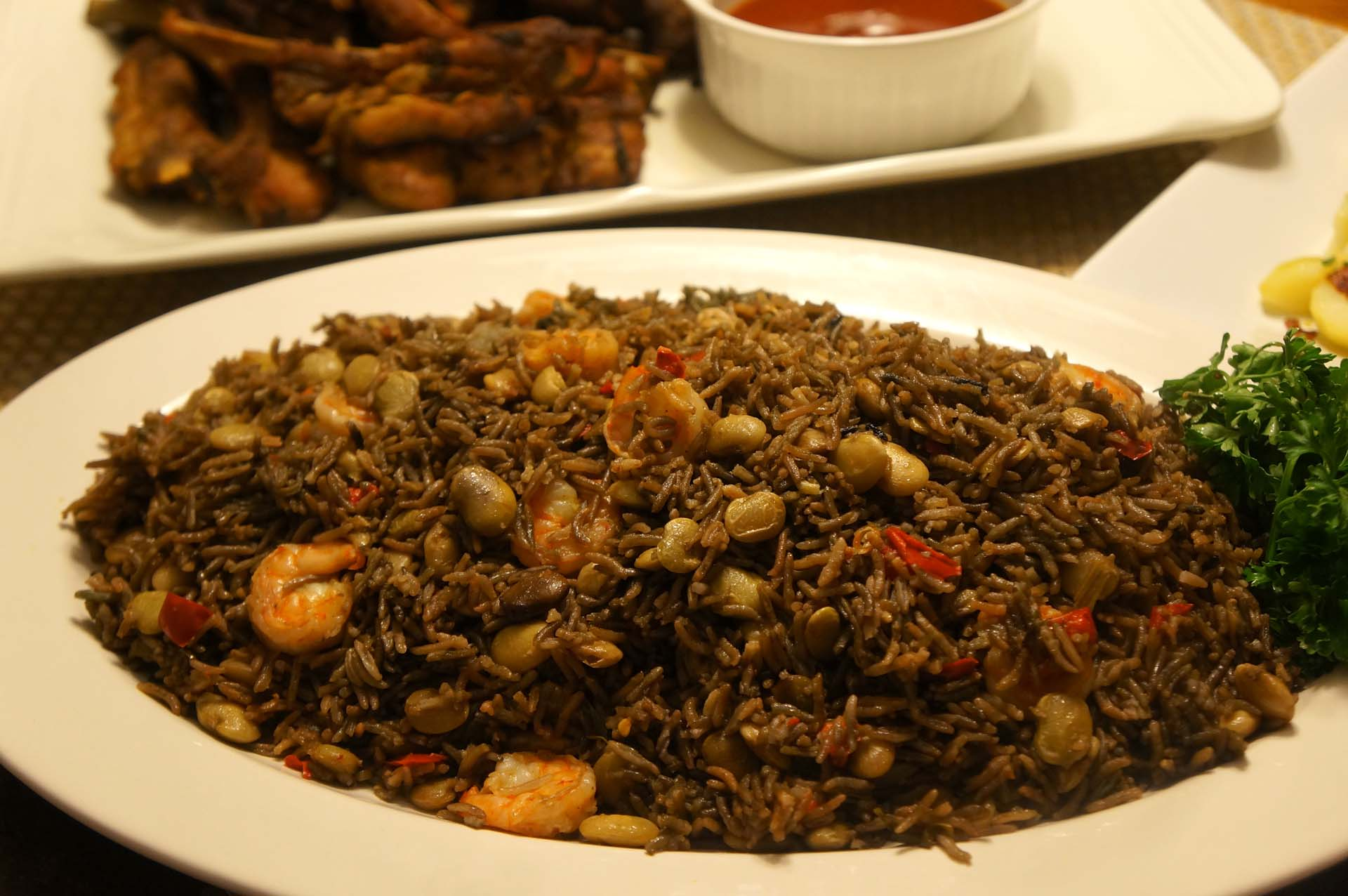 Black mushroom rice with shrimp riz djon djon with shrimp for Cuisine haitienne