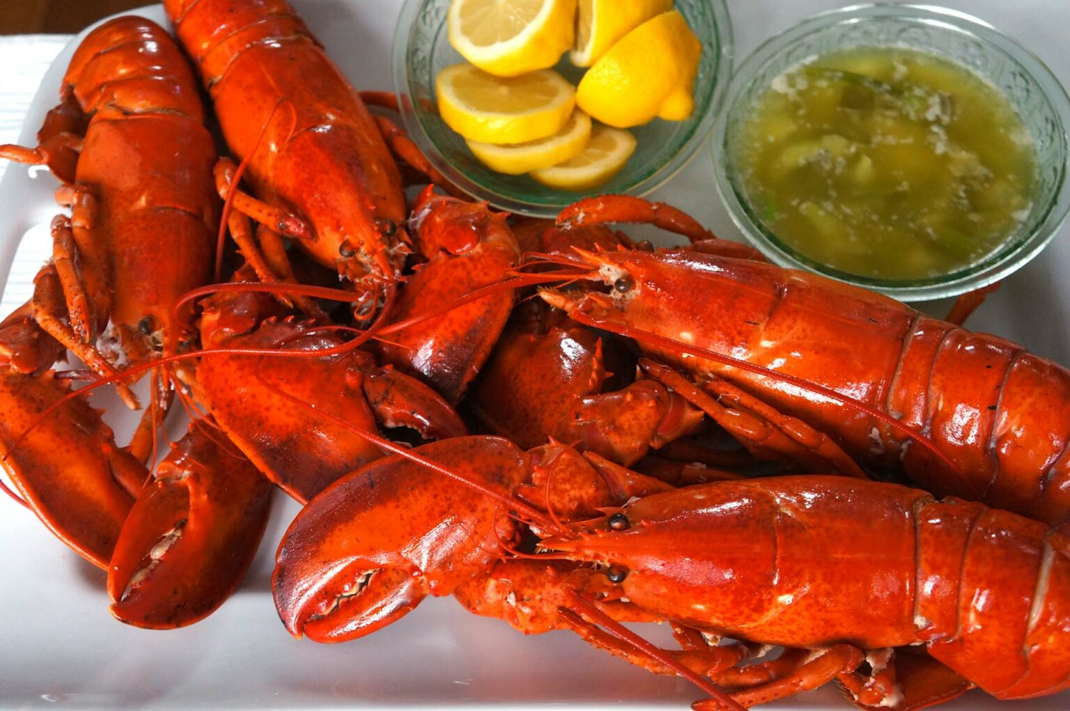 Boiled Lobsters with Scallion Pepper Butter