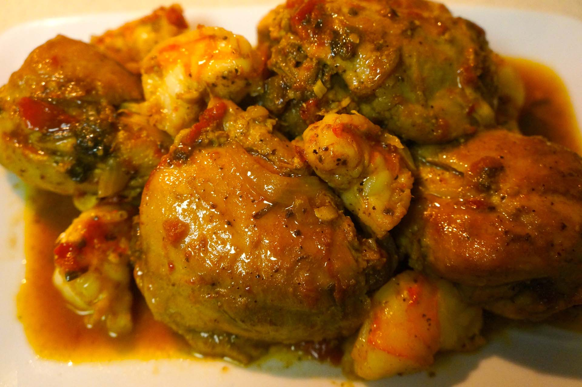 Chicken with Prawns in Wine Sauce