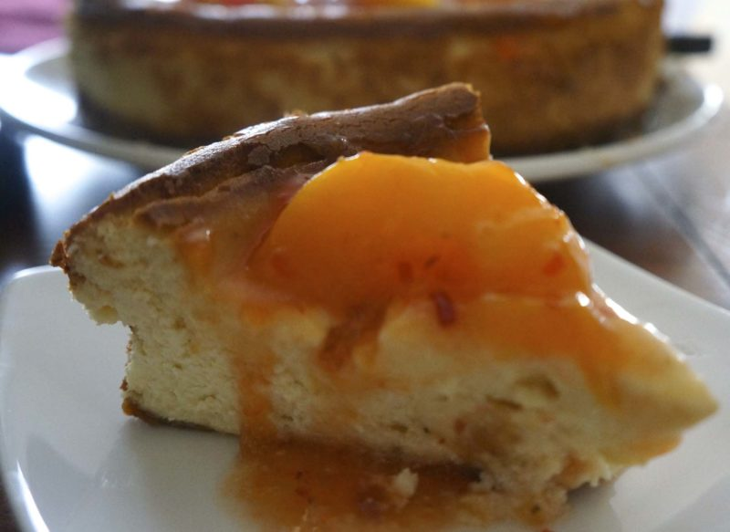 Hot Pepper Peach Jam Cheesecake