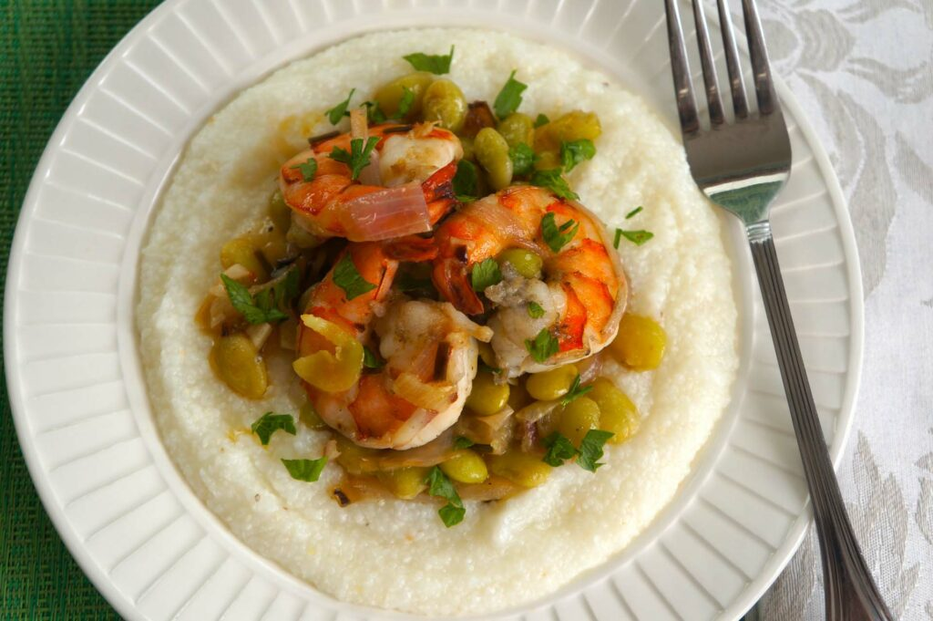 Shrimp with Black Lava Sea salt and Baby Lima Beans with Grits