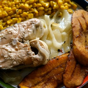 Spicy Poached Salmon Steaks