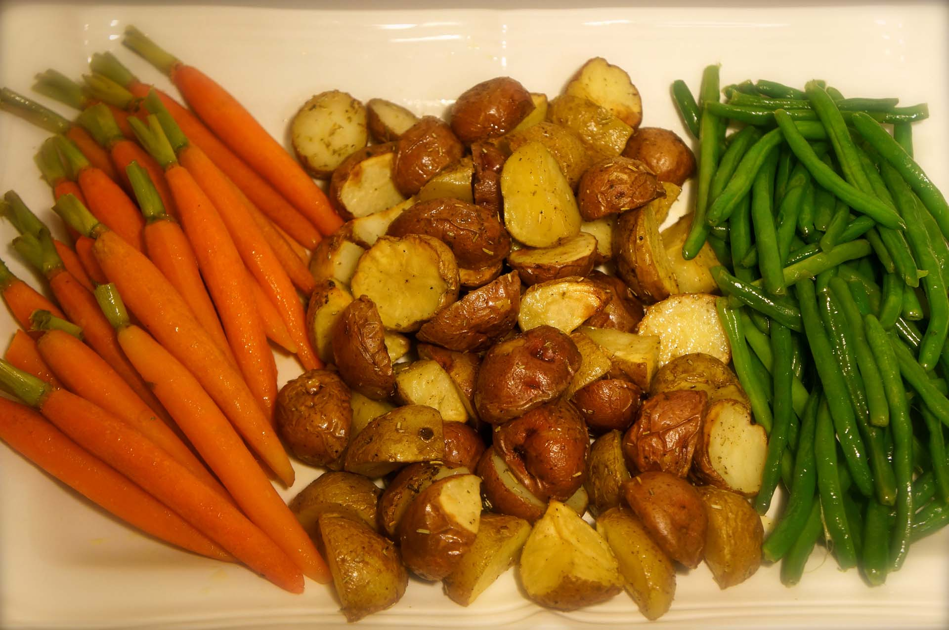 Steamed Vegetables and Roasted Potatoes