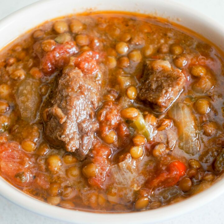 Beef Stew with Green Lentils