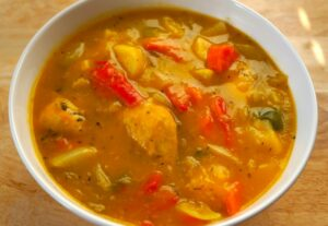 Butternut Squash Soup with Cornish Hens and Veggies - caribbeangreenliving.com