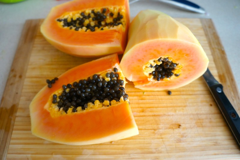 Cut up papaya