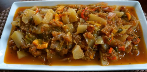 Eggplant and Chayote Meatless Stew