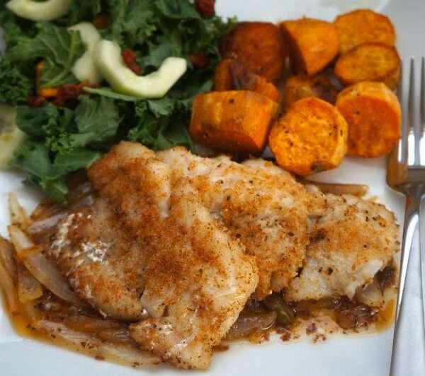 Codfish with Roasted Potatoes and Kale Salad