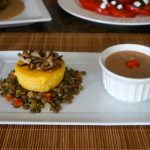 A Vegan meal, Polenta Herbed Cake, Ragout Lentils, Sautéed Shiitake Mushrooms with Butter Bean Puree