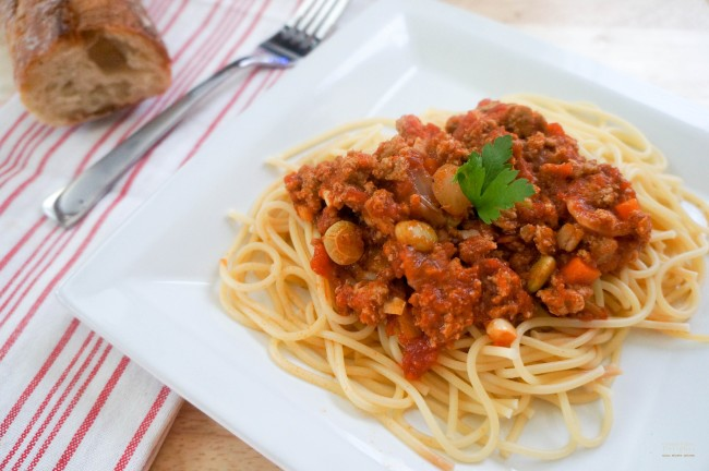 Spaghetti with Meat Sauce and Lima Beans