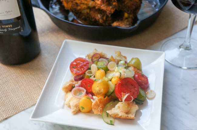 Quick and Easy Panzanella Salad served with Roasted Chicken