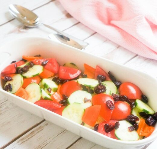 Cucumber, Tomatoes, Sweet Mini Peppers and Dried Cranberries Salad