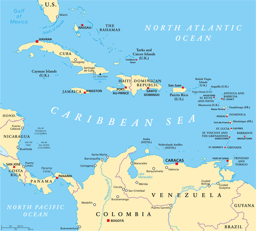 Caribbean Islands map - caribbeangreenliving.com