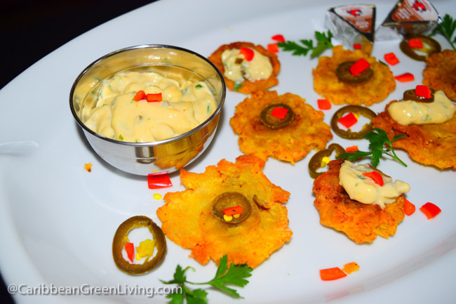 Plantains with Spicy Cheese Dip