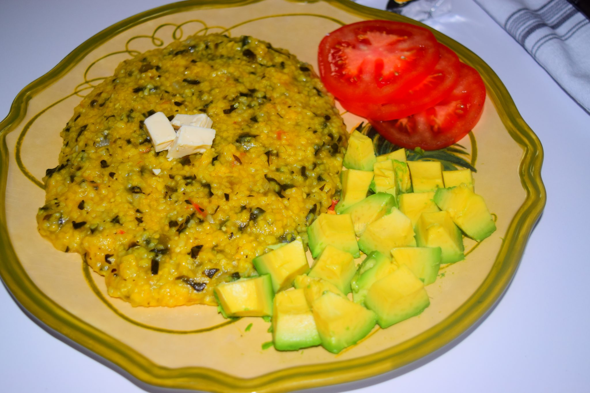 Plate of Cornmeal and Spinach
