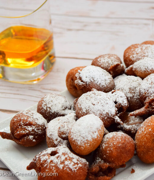 Caribbean Beignets with Glass of Rum on the side - caribbeangreenliving.com