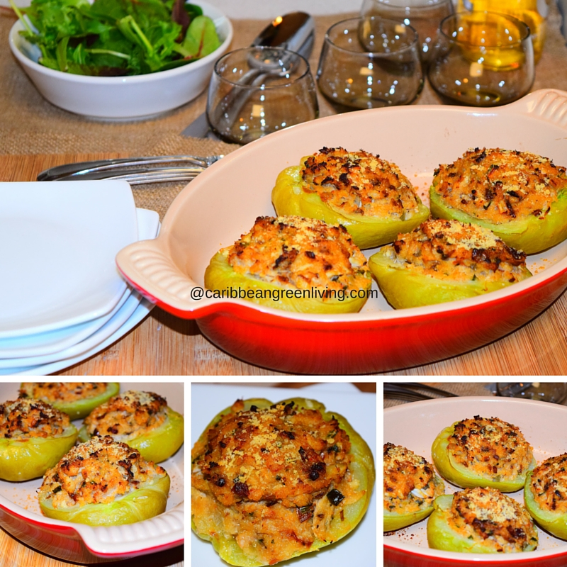 Baked Chayote (Mirliton) Stuffed with Crabmeat - caribbeangreenliving.com