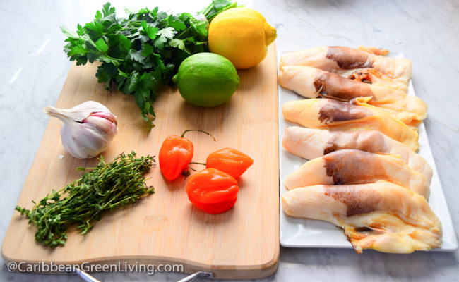 Ingredients for Garlic Conch - caribbeangreenliving.com