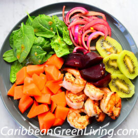 Plate of Shrimp and Fruits Salad 2