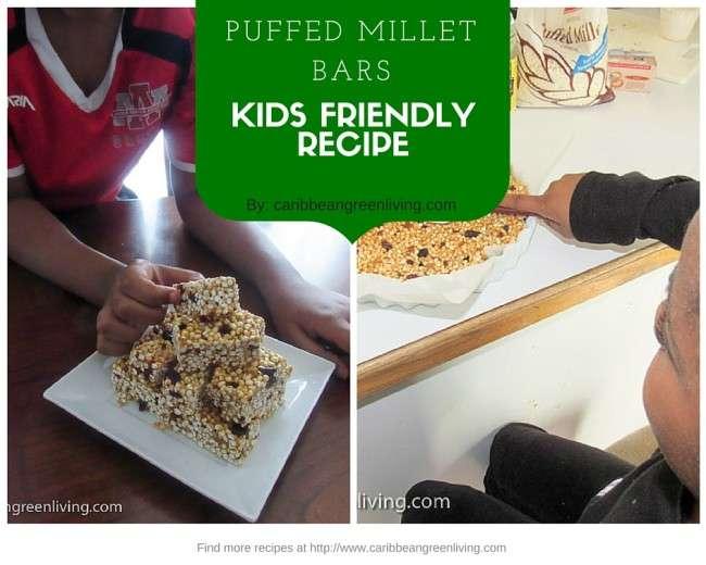 Puffed Millet Bars Kids Friendly Recipe - caribbeangreenliving.com