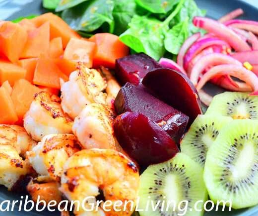 Shrimp and Fruits salad - caribbeangreenliiving.com