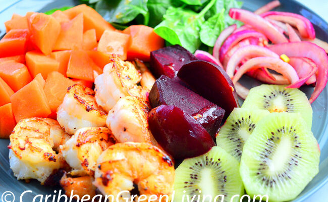 Shrimp and Fruits salad - caribbeangreenliiving.com