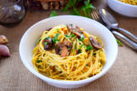 spaghetti with garlic and mushrooms - caribbeangreenliving.com