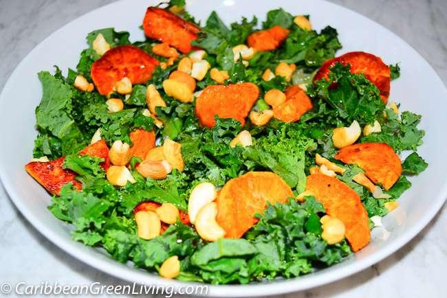 Kale and Sweet Potatoes Salad - caribbeangreenliving.com