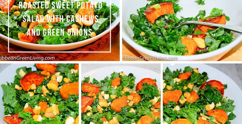 Roasted Sweet Potato Salad with Cashews and Green Onions - caribbeangreenliiving.com