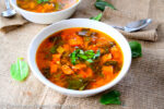Spanish Chickpea soup with chorizo, paprika, and saffron - caribbeangreenliving.com