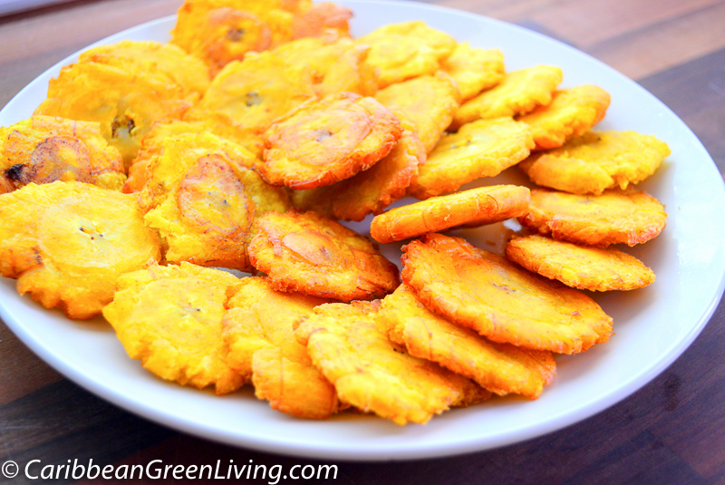 How To Make Crispy Fried Green Plantains Noubess Caribbean Green Living