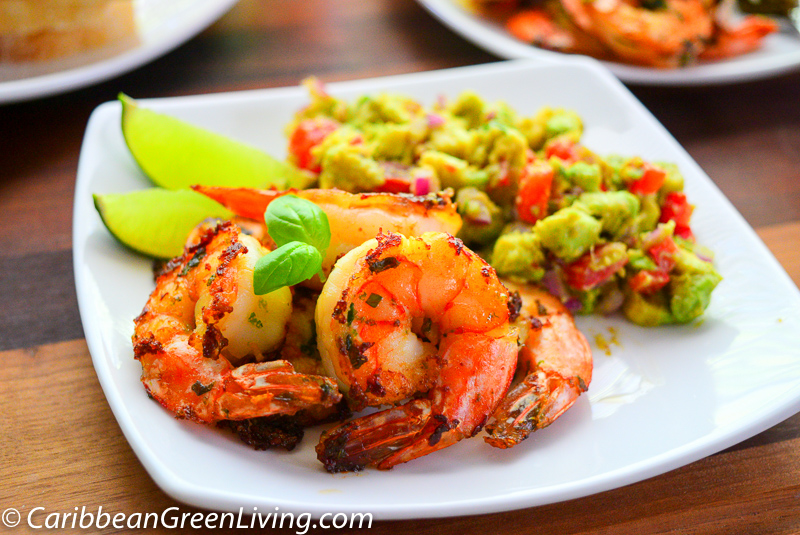 Grilled Shrimp and Avocado and Tomato Salad