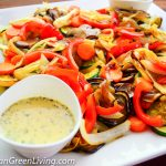 Grilled squash, eggplant and pan-roasted mushroom with herb-lemon sauce