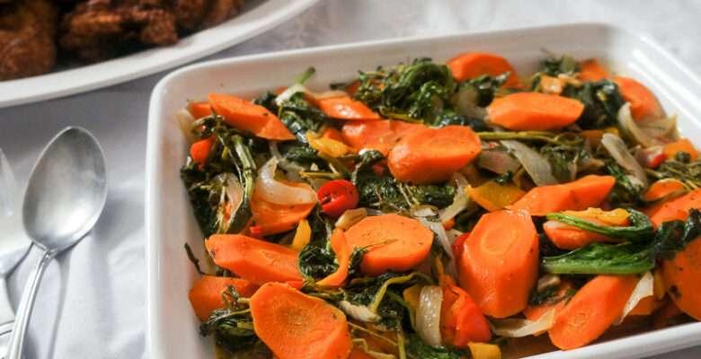 Sautéed Carrots, Kale and Watercress