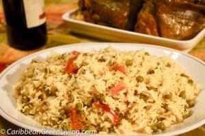 jasmine rice with peas and tomato