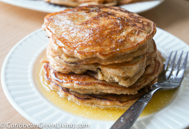 Fluffy Apple Pancakes with Maple Syrup Butter | Caribbean Green Living