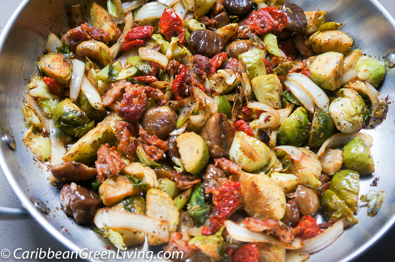 Pan roasted Brussels Sprouts with Sun-dried Tomatoes and Chestnuts