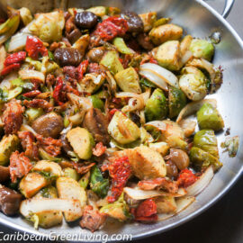 Pan roasted Brussels Sprouts with Sun dried Tomatoes and Chestnuts 1