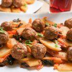 Ground Turkey Meatballs with Chayote and Kale