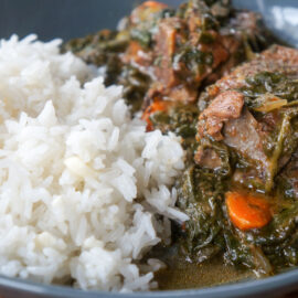 Lamb stew with spinach and carrots