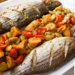 Roasted Sea Bass with Lima Beans, Peppers and Plantains