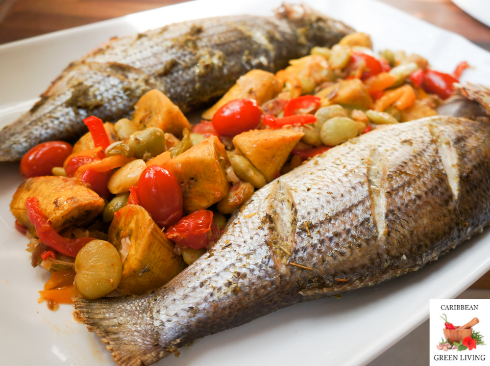 Roasted Sea Bass with Lima Beans, Peppers, and Plantains